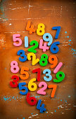 """""""Colorful numbers on grungy , stained, old background."""""""