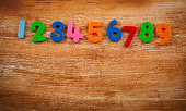 Colorful numbers on grungy background.