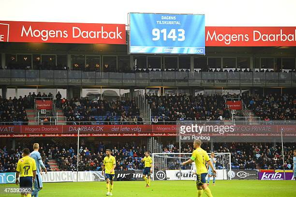 Numbers of spectators are shown on the screen during the Danish Alka Superliga match between Randers FC and Brondby IF at AutoC Park on May 31 2015...