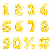Golden numbers set, hashtag, percent sing made of golden inflatable balloons