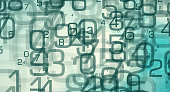 Abstract random numbers 0-9, computer big data concept