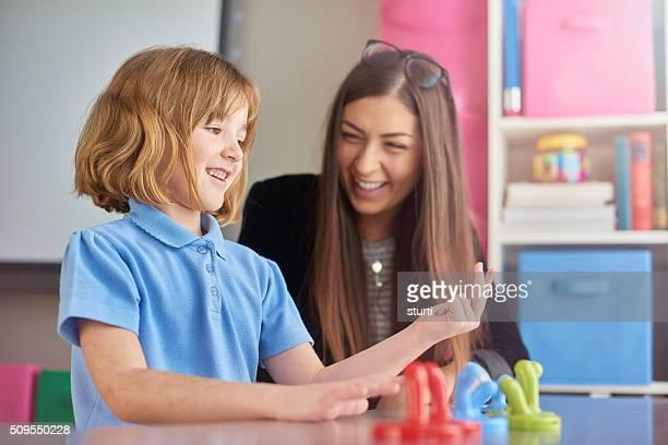 numeracy teacher and pupil