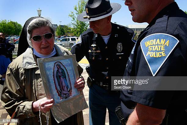 A nun is arrested for trespassing after refusing to leave campus during an antiabortion demonstration outside Joyce Arena on the campus of Notre Dame...