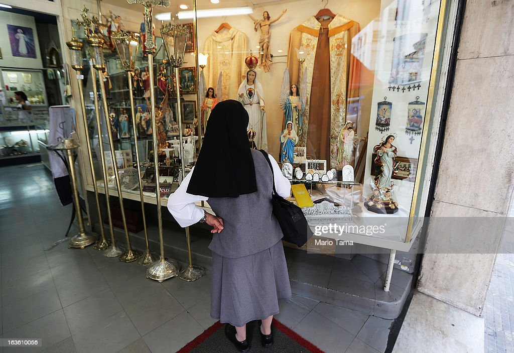 A nun looks in a Christian shop outside the Se Cathedral, the cathedral of the Roman Catholic Archbishop of Sao Paulo, Cardinal Odilo Pedro Scherer, on March 13, 2013 in Sao Paulo, Brazil. Brazil has more Catholics than any other country in the world and supporters hope Sao Paulo Archbishop Cardinal Odilo Pedro Scherer will be chosen as the next Pope during the papal conclave.