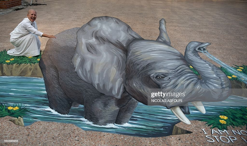 A nun stands next to a chalk drawing of an elephant designed by artist Remko van Schaik at the Wat That Thong temple in Bangkok on March 9,2013. Conservationists have urged Internet giant Google to remove thousands of advertisements promoting products made from endangered whales and elephants. Campaign group The Environmental Investigation Agency said on March 5 that it had written to Google CEO Larry Page last month appealing for the removal of more than 1,400 ads promoting whale products and 10,000 ads for elephant ivory products on its Japanese shopping site. AFP PHOTO/ Nicolas ASFOURI