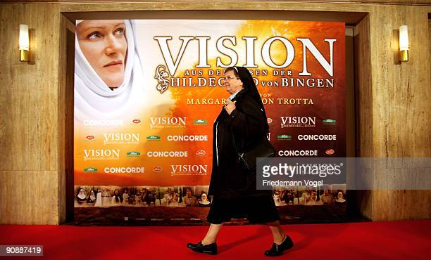 A nun walks on the red carpet before the premiere of the film 'Vision From The Life Of Hildegard Von Bingen' by director Margarethe von Trotta at the...