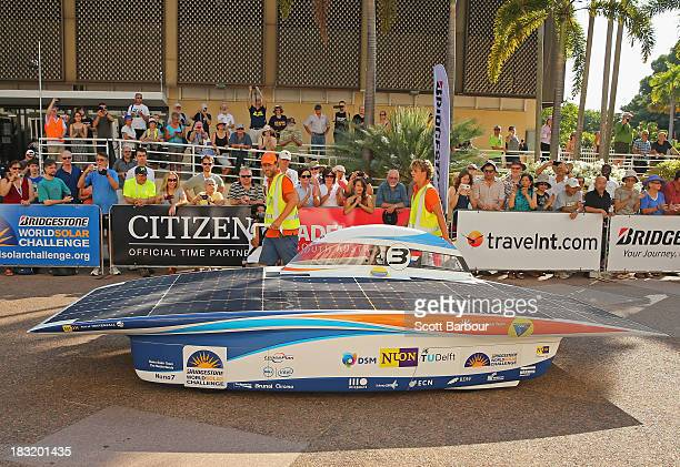 Nuna7 from Nuon Solar Team Delft University of Technology the Netherlands starts racing in the Clipsal and Schneider Electric Challenger Class on Day...
