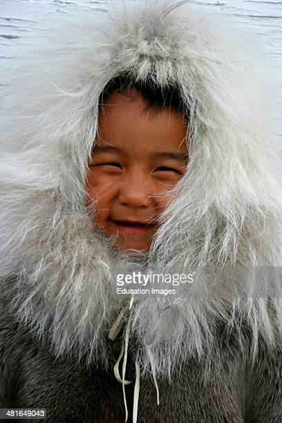 Nunavut 6YrOld Inuit Boy Lance Akoluk Dressed In Traditional Clothing At Bathurst Inlet Canadian Arctic