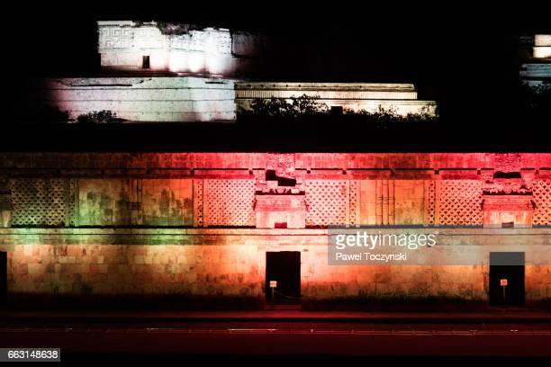Nunnery at Uxmal Mayan site, lit up at night, Mexico