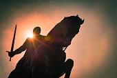 Equestrian statue of Nuno Alvares Pereira.Batalha.Portugal.