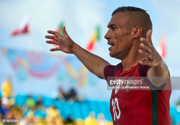 Nuno Belchior of Portugal celebrates a goal during the FIFA Beach Soccer World Cup Bahamas 2017 group C match between Portugal and Panama at Bahamas...
