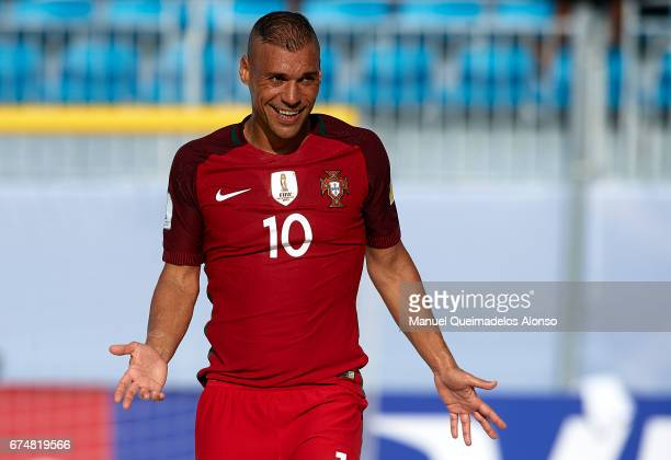 Nuno Belchior of Portugal reacts during the FIFA Beach Soccer World Cup Bahamas 2017 group C match between Portugal and Panama at Bahamas Beach...