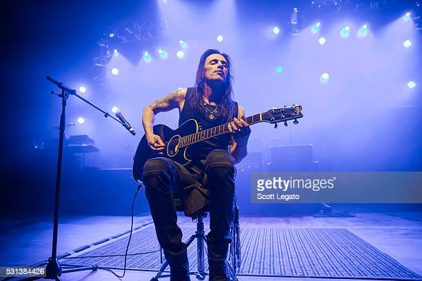 Nuno Bettencourt performs during the Generation Axe Tour at The Royal Oak Music Theater on May 2 2016 in Royal Oak Michigan