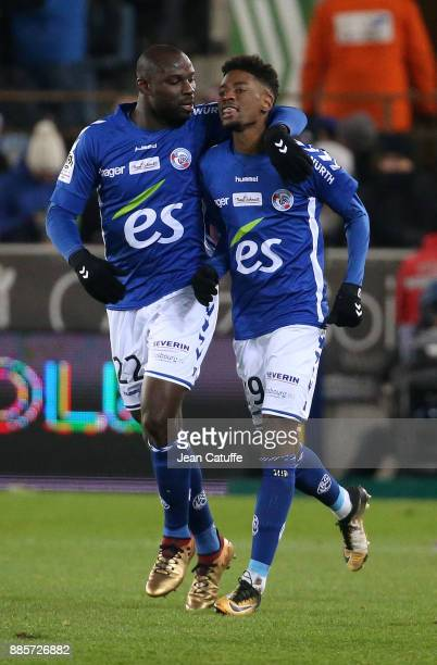 Nuno Da Costa of Strasbourg celebrates his goal with Ernest Seka during the French Ligue 1 match between RC Strasbourg Alsace and Paris Saint Germain...