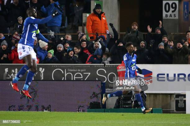 Nuno Da Costa of Strasbourg celebrates his goal with Kader Mangane during the French Ligue 1 match between RC Strasbourg Alsace and Paris Saint...