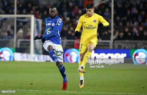 Nuno Da Costa of Strasbourg Yuri Berchiche of PSG during the French Ligue 1 match between RC Strasbourg Alsace and Paris Saint Germain at Stade de la...