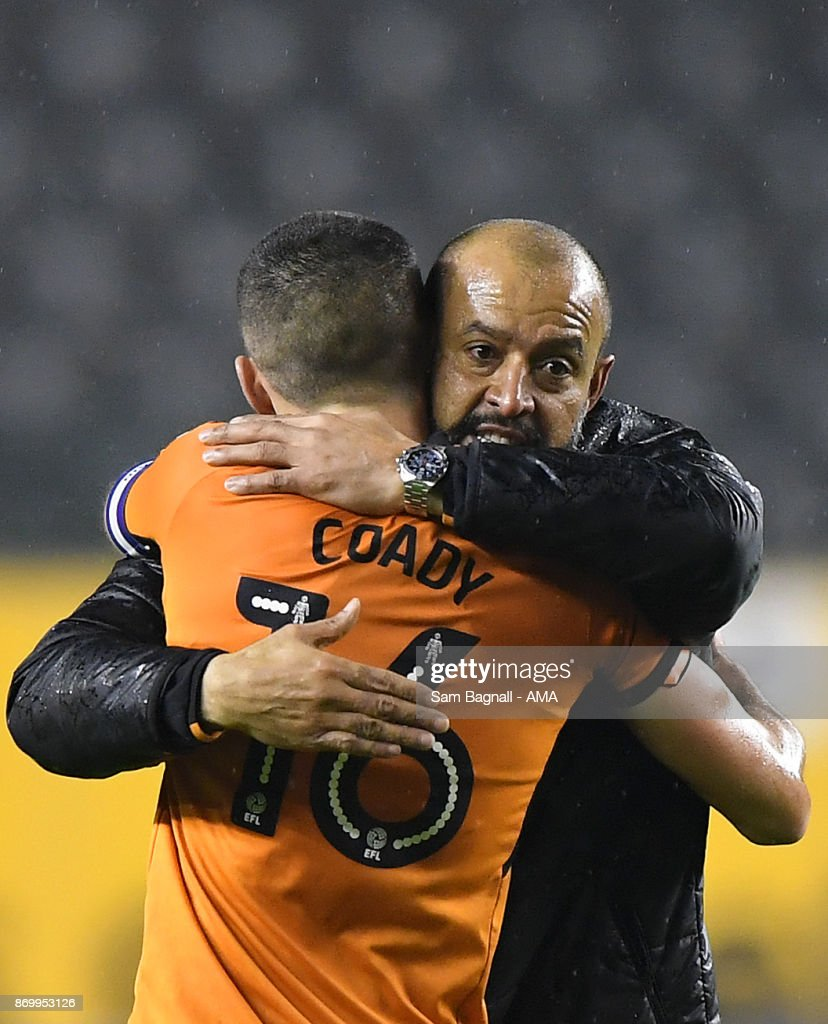 Nuno Espirito Santo manager / head coach of Wolverhampton Wanderers celebrates at full time with Conor Coady of Wolverhampton Wanderers during the Sky Bet Championship match between Wolverhampton and Fulham at Molineux on November 3, 2017 in Wolverhampton, England.