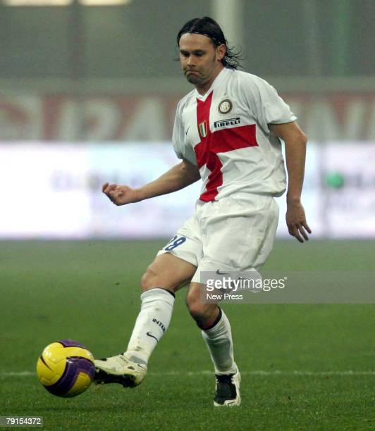 Nuno Maniche of Inter in action during the Serie A match between Inter Milan and Parma at the San Siro Stadium on January 20 2008 in Milan Italy