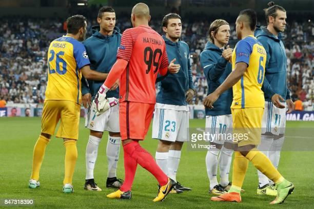 Nuno Morais of APOEL FC Cristiano Ronaldo of Real Madrid goalkeeper Boy Waterman of APOEL FC Mateo Kovacic of Real Madrid Luka Modric of Real Madrid...