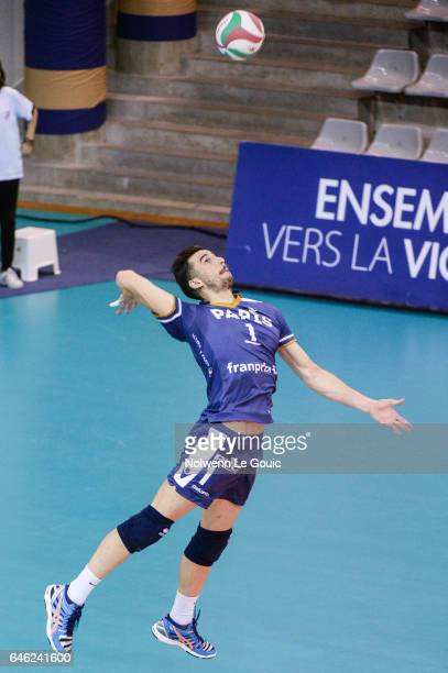Nuno Pinheiro of Paris during the volleyball Ligue A match between Paris Volley and Nantes Reze at Salle Pierre Charpy on February 23 2017 in Paris...