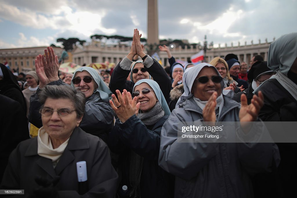 Nuns applaud as Pope Benedict XVI delivers his last Angelus Blessing in Saint Peter's Square on February 24, 2013 in Vatican City, Vatican. The Pontiff will hold his last weekly public audience on February 27, 2013 before he retires the following day. Pope Benedict XVI has been the leader of the Catholic Church for eight years and is the first Pope to retire since 1415. He cites ailing health as his reason for retirement and will spend the rest of his life in solitude away from public engagements.
