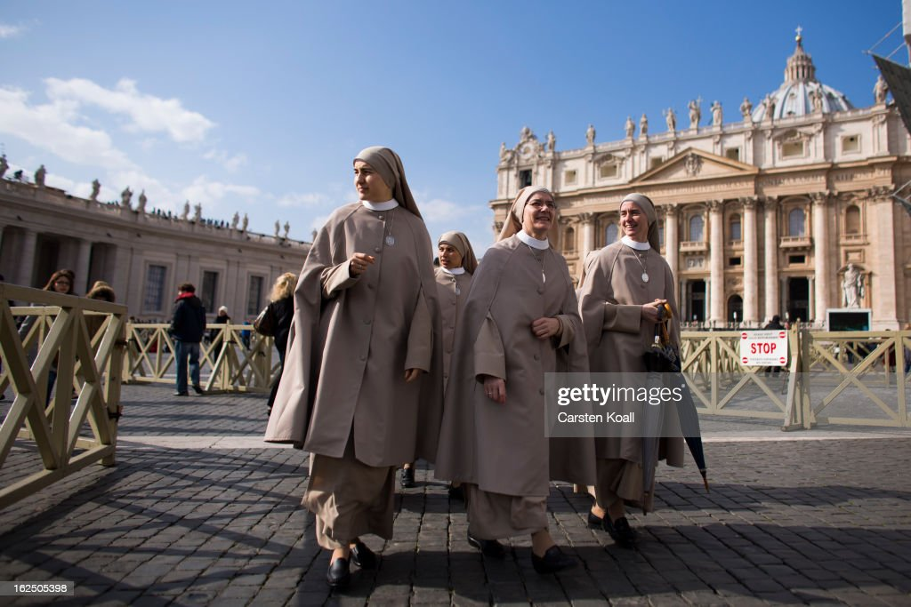 Nuns arrive in Peters Square on February 24, 2013 in Vatican City, Vatican. Pope Benedict XVI delivers his last Angelus Blessing from the window of his private apartment to thousands of pilgrims gathered in Saint Peter's Square on February 24, 2013 in Vatican City, Vatican. The Pontiff will hold his last weekly public audience on February 27, 2013 before he retires the following day. Pope Benedict XVI has been the leader of the Catholic Church for eight years and is the first Pope to retire since 1415. He cites ailing health as his reason for retirement and will spend the rest of his life in solitude away from public engagements.