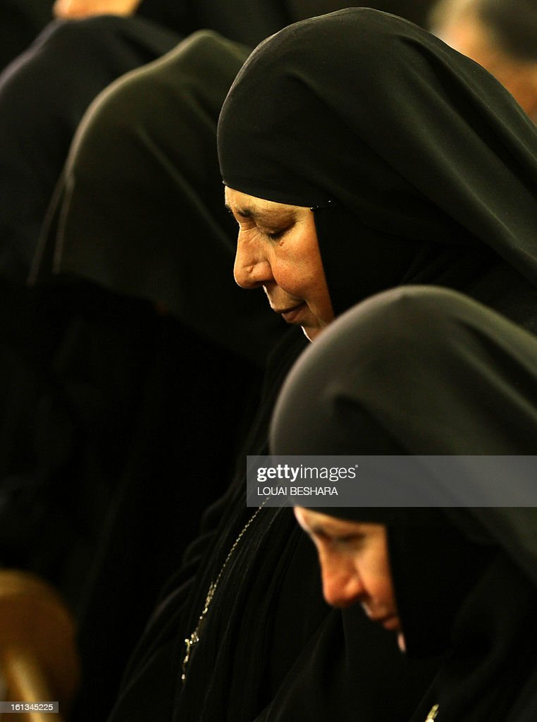 Nuns attend the enthronement of Greek Orthodox leader Yuhanna X Yazigi as the Greek Orthodox Patriarch of Antioch and All the East at the Holy Cross Church, in the Qasaa district of Damascus, on February 10, 2013. Yuhanna X Yazigi was chosen as the Patriarch of Antioch and All the East on December 17, replacing Ignatius IV Hazim who died that month. Christians make up about five percent of the population in Syria, where rebels and forces loyal to Syrian President Bashar al-Assad have been locked in a civil war the UN says has killed more than 60,000 people.