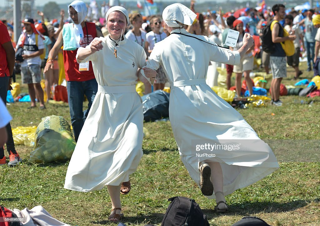 Nuns celebrate the end of the World Youth Day as Pope Francis finishes the Mass in Brzegi, near Krakow. On Sunday, 31 July 2016, in Brzegi, Krakow, Poland.