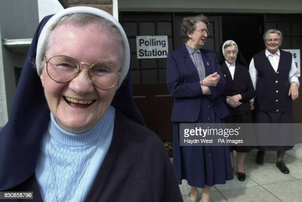 Nuns from Balloonach Convent leaving a polling station at the primary school next door to their home in Tralee Co Kerry after casting their votes in...