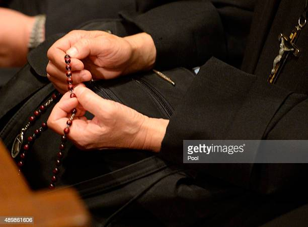 Nuns pray as Pope Francis leads evening Vespers at Saint Patrick's Cathedral on September 24 2015 in New York City The pope is on a sixday visit to...