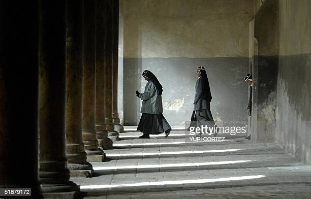 Nuns walk at the Church of Nativity where according to Christian tradition the Virgin Mary gave birth to Jesus over 2000 years ago during a Sunday...