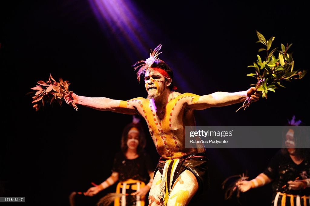 Nunukul Yuggera of Australia featuring traditional Aboriginal song and dance troupe, with unique lifestyle, religions, and tribal legends in Rainforest World Music Festival at Sarawak Cultural Village on June 28, 2013 in Kuching, Sarawak, Malaysia.