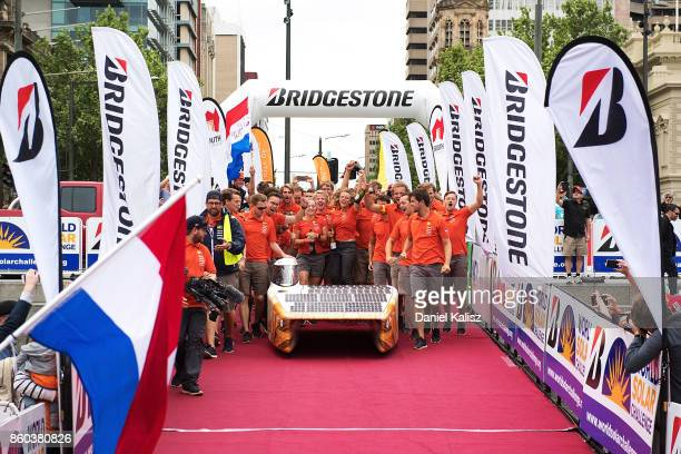 Nuon Solar Team vehicle 'Nuna9' from the Netherlands crosses the finish line on Day 5 of the 2017 Bridgestone World Solar Challenge at Victoria...