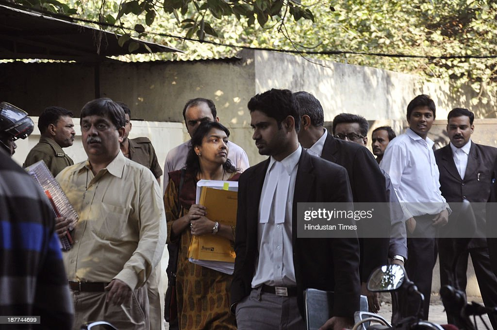 Nupur Talwar accused in Aarushi-Hemraj double murder case at CBI Court on November 11, 2013 in Ghaziabad, India. The lawyer representing the Talwars, the parents accused in the murder of the 14-year-old Aarushi in Noida in 2008, argued in the CBI court on Monday that the probe agency manipulated evidence it provided in court.