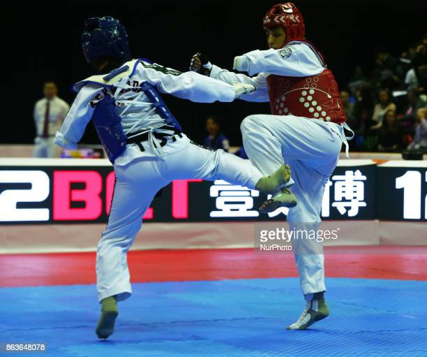 Nurcihan Ekinci of Turkey against Ana Simanic of Serbia in the K44 Female K44 58 Match 111 during 7th World Para Taekwondo Championships 2017 at...
