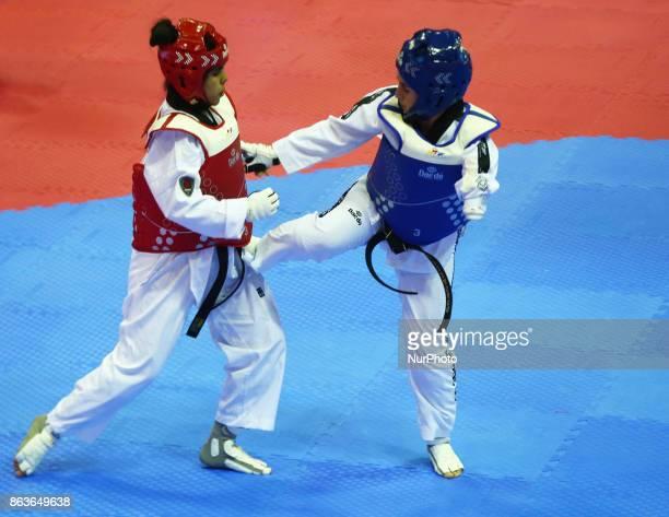 Nurcihan Ekinci of Turkey against Rajae Akermach of Morocco in the K44 Female K44 58 Match 124 during 7th World Para Taekwondo Championships 2017 at...