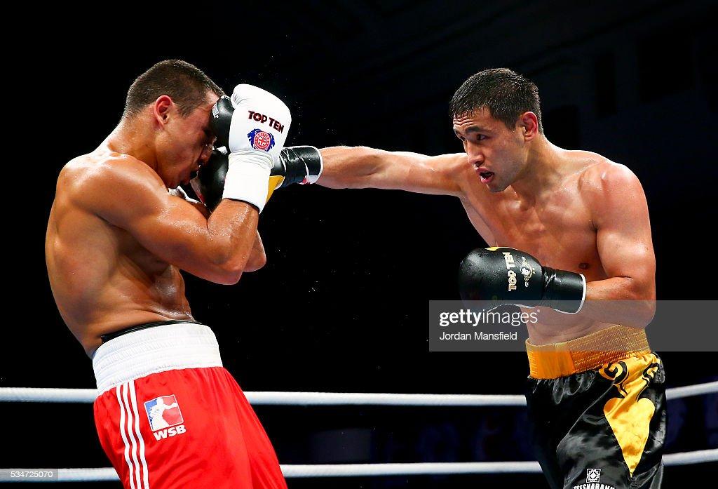 Nurdaulet Zharmanov of Astana Arlans (R) in action against Radoslav Dimitrov Pantaleev of British Lionhearts (L) in the semi-final of the World Series of Boxing between the British Lionhearts and Kazakhstan at York Hall on May 27, 2016 in London, England.