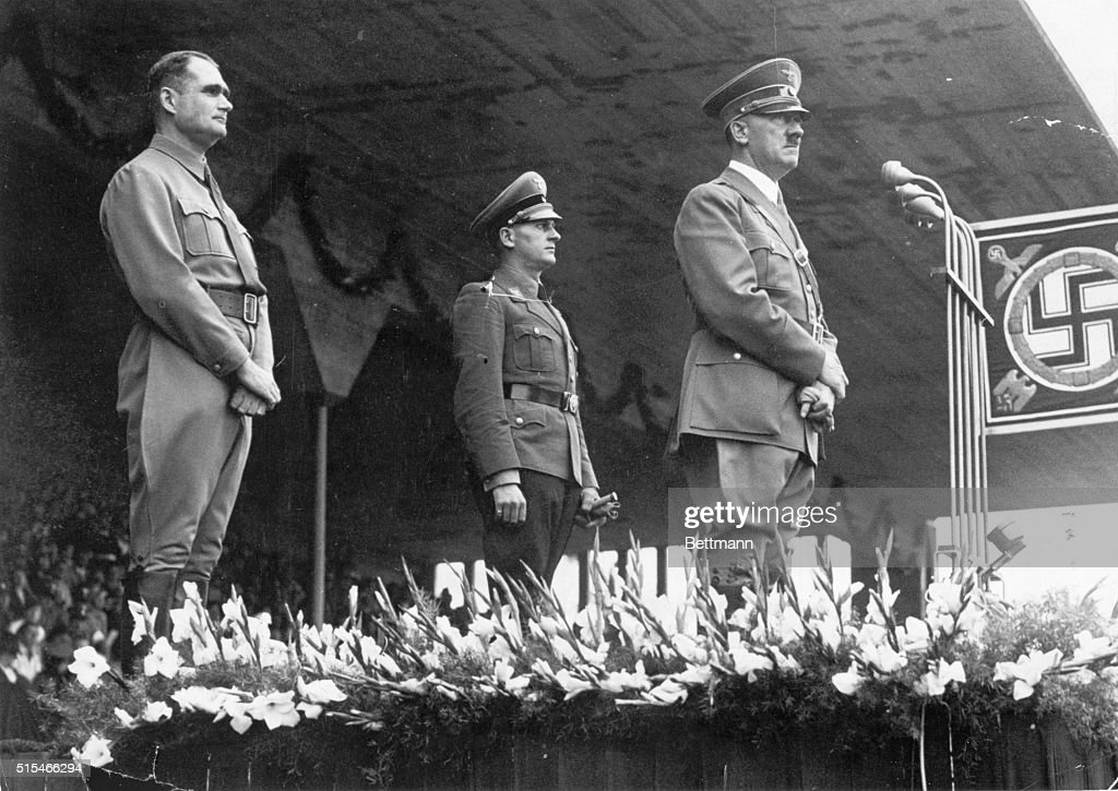 Image result for adolf hitler podium with soldiers