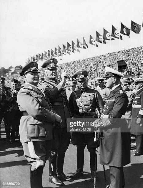 Nuremberg Rally 1935 From the left Hermann Goering Reich Minister of Defense General Werner von Blomberg the commanderinchief of the Army High...