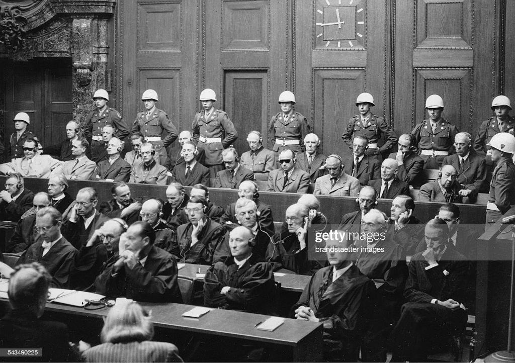 Nuremberg Trials. First row- Hermann Göring; <a gi-track='captionPersonalityLinkClicked' href=/galleries/search?phrase=Rudolf+Hess&family=editorial&specificpeople=94030 ng-click='$event.stopPropagation()'>Rudolf Hess</a>; Joachim von Ribbentrop; <a gi-track='captionPersonalityLinkClicked' href=/galleries/search?phrase=Wilhelm+Keitel&family=editorial&specificpeople=94240 ng-click='$event.stopPropagation()'>Wilhelm Keitel</a>; Ernst Kaltenbrunner; Alfred Rosenberg; Wilhelm Franck; Wilhelm Frick; <a gi-track='captionPersonalityLinkClicked' href=/galleries/search?phrase=Julius+Streicher&family=editorial&specificpeople=93641 ng-click='$event.stopPropagation()'>Julius Streicher</a>; Funck and <a gi-track='captionPersonalityLinkClicked' href=/galleries/search?phrase=Hjalmar+Schacht&family=editorial&specificpeople=931180 ng-click='$event.stopPropagation()'>Hjalmar Schacht</a>. Second row-Karl Dönitz; Erich Raeder; Baldur von Schirach, Fritz Sauckel; Alfred Jodl, Franz von Papen, Arthur Seyss-Inquart, Albert Speer, Konstantin von Neurath und Hans Fritzsche. Germany. Photograph. 1946.