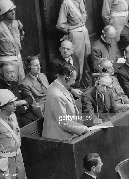Nuremberg Trials Hermann Göring making his final plea at the Nuremberg court August 31st 1945 Germany Photograph