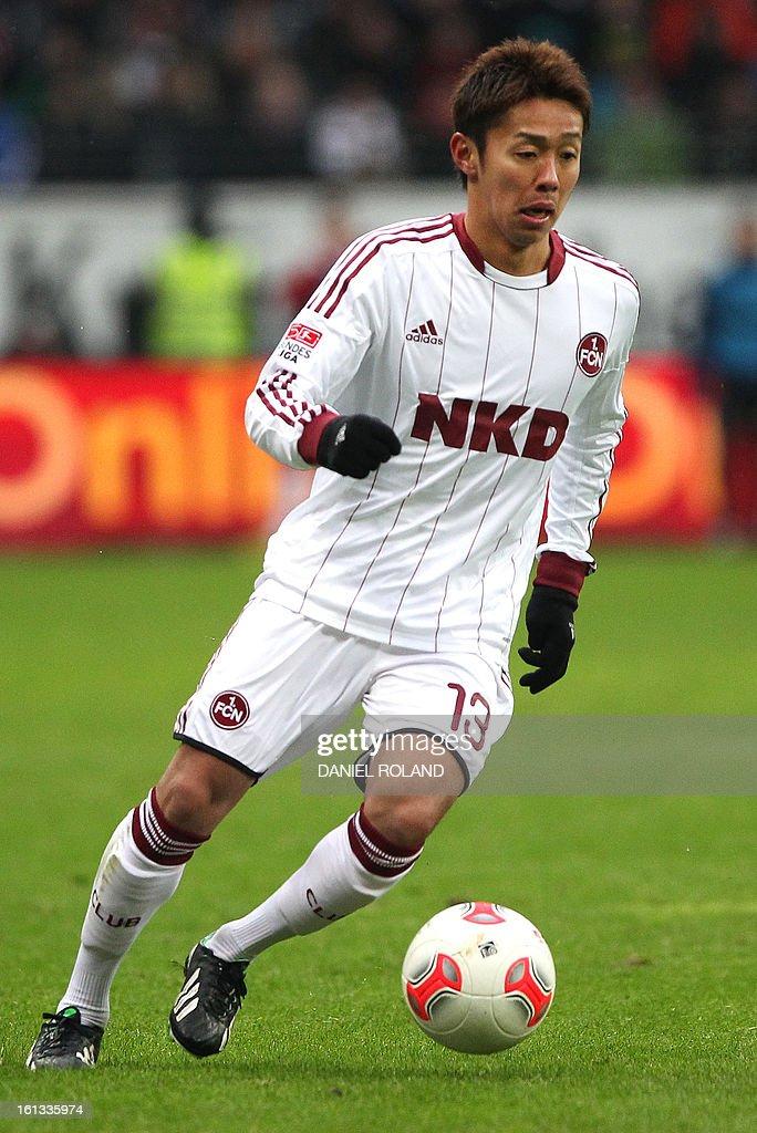 Nuremberg's Hiroshi Kiyotake plays the ball during the German first division Bundesliga football match Eintracht Frankfurt vs 1 FC Nuernberg in Frankfurt, Germany, on February 9, 2013.