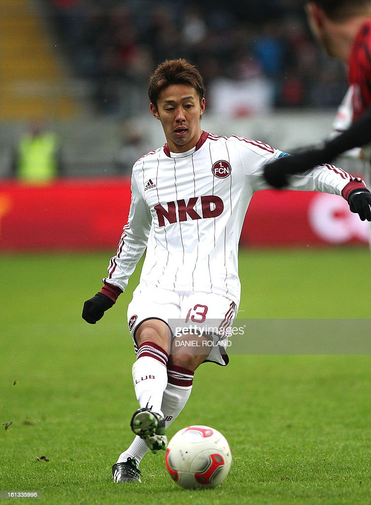 Nuremberg's Hiroshi Kiyotake plays the ball during the German first division Bundesliga football match Eintracht Frankfurt vs 1 FC Nuernberg in Frankfurt, Germany, on February 9, 2013.