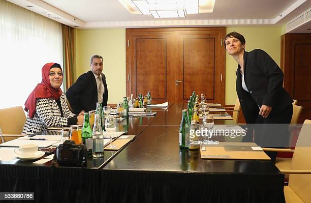 Nurhan Soykan of the Central Council of Muslims in Germany sits across from Frauke Petry head of the rightwing populist Alternative fuer Deutschland...