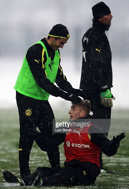 Nuri Sahin is seen with Marco Reus during a Borussia Dortmund training session on January 15 2013 in Dortmund Germany