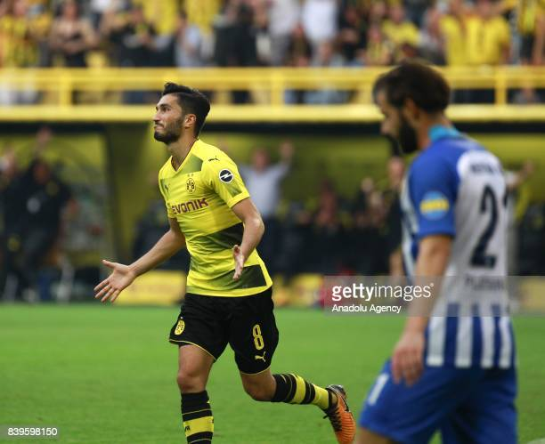 Nuri Sahin of Borussia Dortmund celebrates after scoring a goal during the Bundesliga soccer match between Borussia Dortmund and Hertha BSC Berlin at...