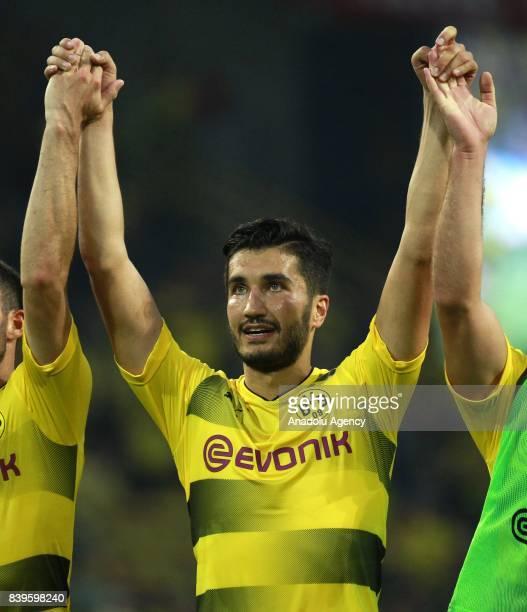 Nuri Sahin of Borussia Dortmund celebrates after winning the Bundesliga soccer match between Borussia Dortmund and Hertha BSC Berlin at the Signal...
