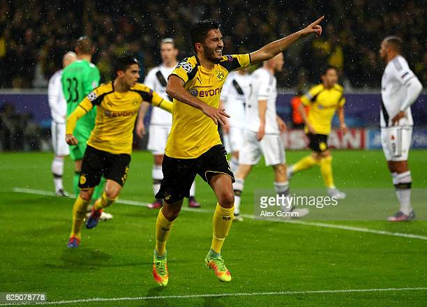 Nuri Sahin of Borussia Dortmund celebrates scoring his teams third during the UEFA Champions League Group F match between Borussia Dortmund and Legia...