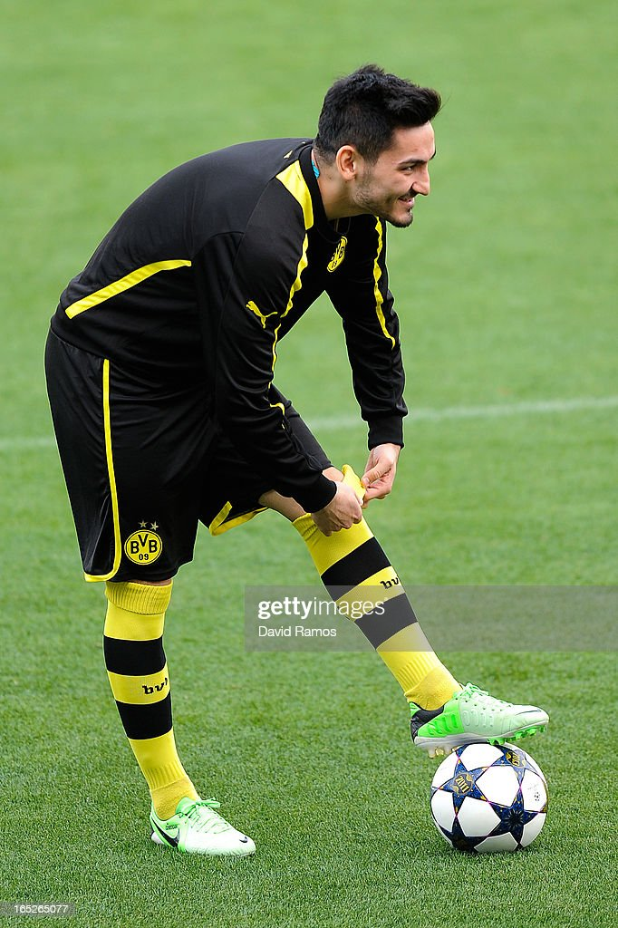 Nuri Sahin of Borussia Dortmund looks on during training session ahead of the UEFA Champions League quarter-final first leg match against Malaga CF, at La Rosaleda Stadium on April 2, 2013 in Malaga, Spain.