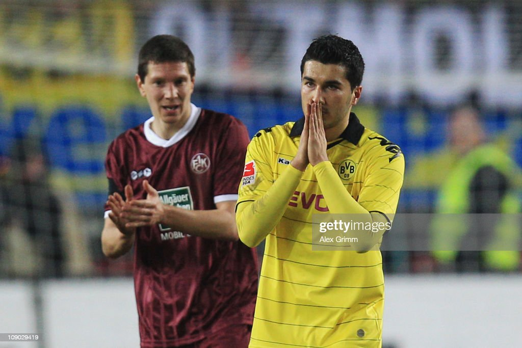 <a gi-track='captionPersonalityLinkClicked' href=/galleries/search?phrase=Nuri+Sahin&family=editorial&specificpeople=609186 ng-click='$event.stopPropagation()'>Nuri Sahin</a> (front) of Dortmund and Jiri Bilek of Kaiserslautern react during the Bundesliga match between 1. FC Kaiserslautern and Borussia Dortmund at Fritz-Walter-Stadion on February 12, 2011 in Kaiserslautern, Germany.